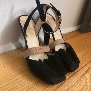Prada size 38 Black Suede Sandals
